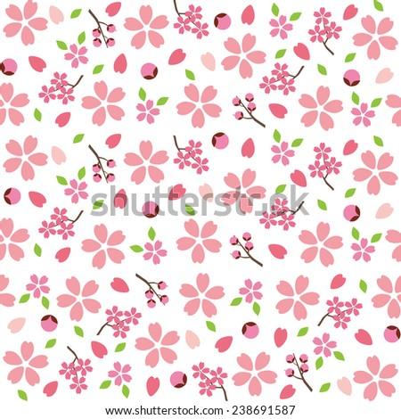 Spring Japanese Sakura Cherry blossoms pattern - stock vector