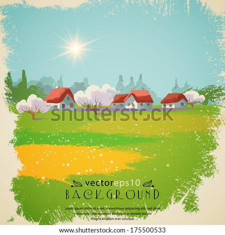 Spring landscape.The illustration contains transparency and effects. EPS10 - stock vector