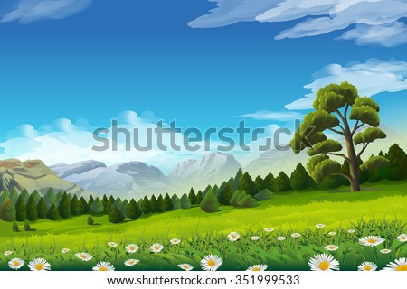 Spring landscape, vector background - stock vector