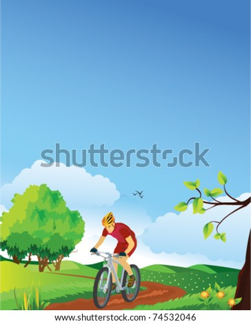 Spring landscape with a mountain biker.  Please see also summer, winter and autumn versions. - stock vector