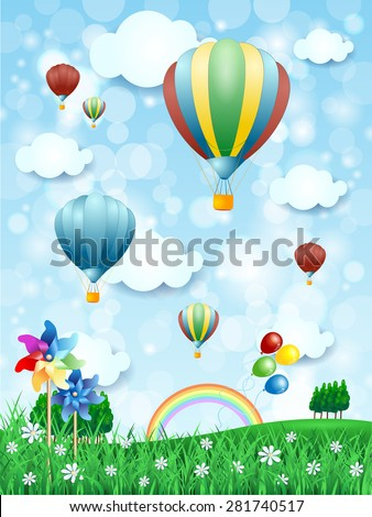 Spring landscape with hot air balloons, vertical version. Vector illustration  - stock vector