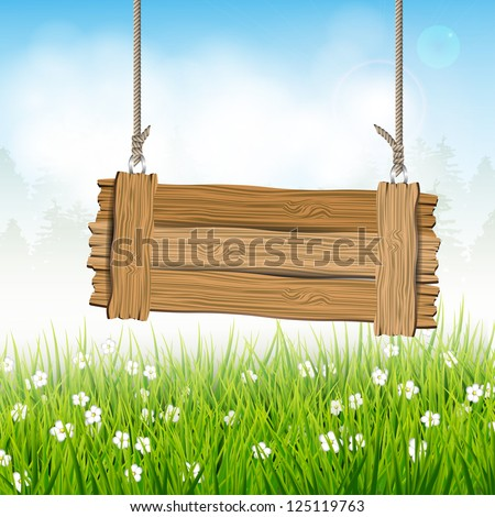 Spring landscape with wooden sign - stock vector