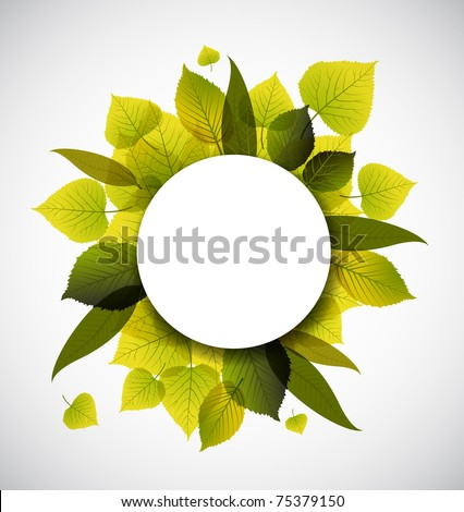 Spring leafs abstract background with place for your text - stock vector