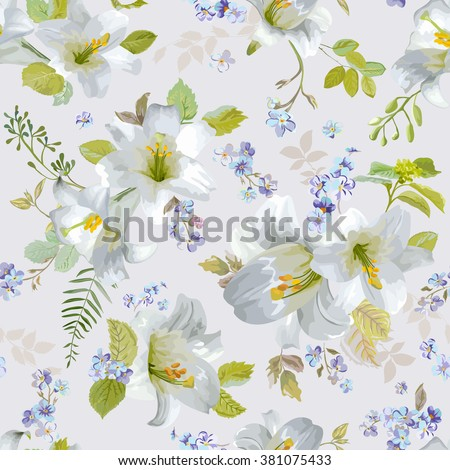 Spring Lily Flowers Backgrounds - Seamless Floral Shabby Chic Pattern - in vector - stock vector