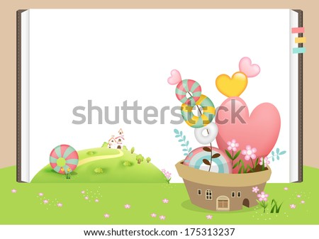 Spring love B / Illustration for Spring season.Lovely pot with candies and flowers on the green field where flower petals and candies are scattered. - stock vector