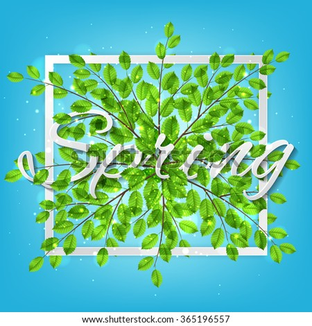 Spring nature banner with tree twigs. Vector illustration of spring. - stock vector