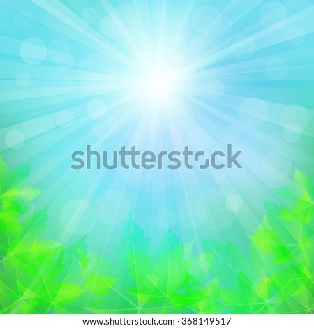 Spring or summer background with bokeh lights. Abstract illustration with sun beams and defocused lights. Sunny natural background with maple leaves. Blurred soft backdrop. Vector illustration. EPS10 - stock vector