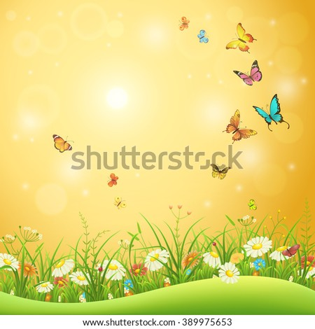Spring or summer flowers, green grass and butterflies, nature background - stock vector
