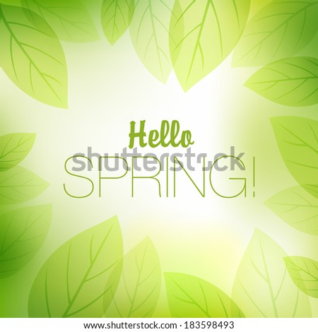 Spring or summer nature background with fresh green leaves.  Vector illustration - stock vector