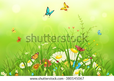 Spring or summer nature background with green grass, flowers and butterflies - stock vector