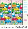 Spring or summer traffic jam visual puzzle: Find the ten differences between the two pictures ( for high res JPEG or TIFF see image 100765552 )  - stock vector