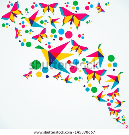Spring origami butterfly and birds colorful composition. Vector illustration layered for easy manipulation and custom coloring. - stock vector