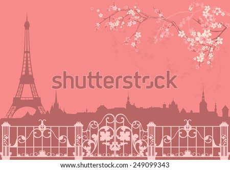 spring Paris vector background - eiffel tower and roofs silhouette among flowers - stock vector