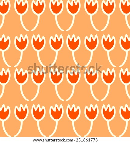 Spring pattern with abstract tulip. - stock vector
