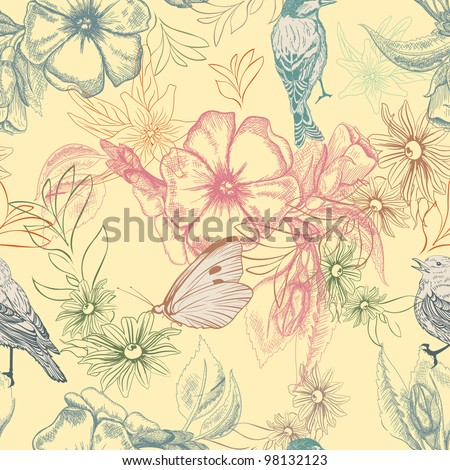 Spring pattern with butterflies and birds on apple flowers, - stock vector