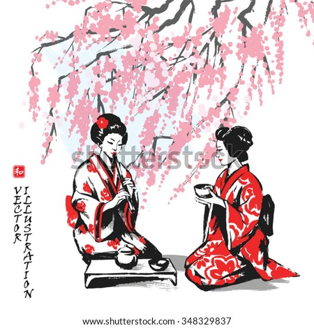 Spring picture with branches of an Oriental cherry and two girls having tea. Hand-drawn sketch. Vector illustration. - stock vector