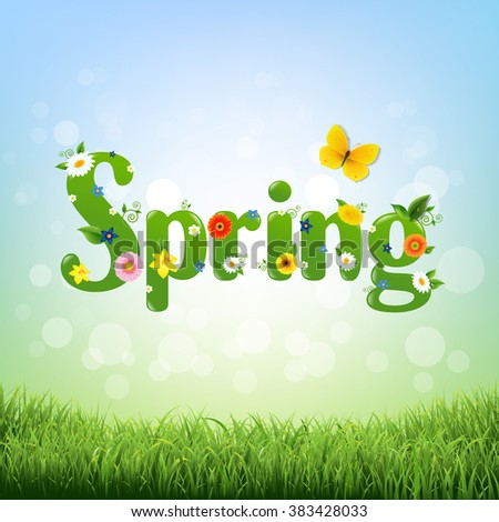 Spring Poster With Gradient Mesh, Vector Illustration - stock vector