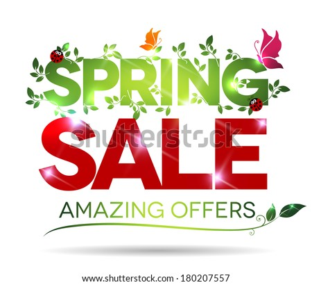 Spring sale, amazing offers message on a white background - stock vector