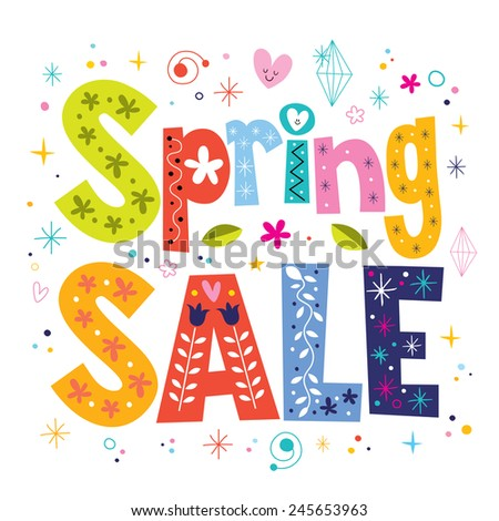 Spring sale decorative lettering type design - stock vector
