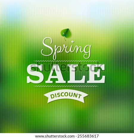 Spring Sale Poster With Blur With Gradient Mesh, Vector Illustration - stock vector