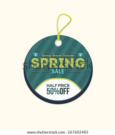 Spring Sale Price, Discount Tag Objects, Banner, Label Vector Design - stock vector