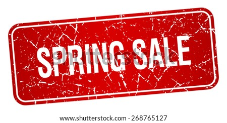 spring sale red square grunge textured isolated stamp - stock vector