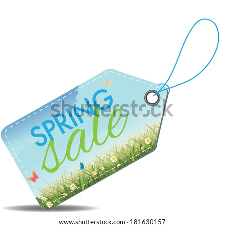 Spring sale tag. EPS 10 vector, grouped for easy editing. No open shapes or paths. - stock vector