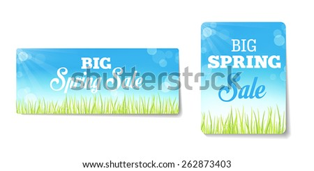 Spring sales labels for web or print or shop window decoration. Can be used as price tags. - stock vector