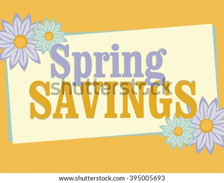 Spring savings sign with flowers over solid orange background - stock vector