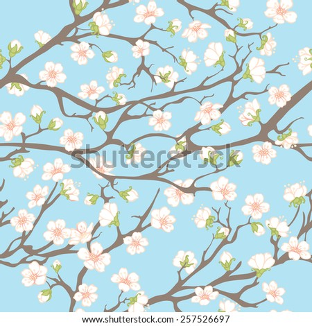 Spring seamless pattern. Spring background with branches and flowers for your design.  - stock vector