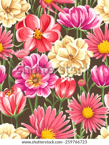 Spring seamless pattern with bright flowers - stock vector