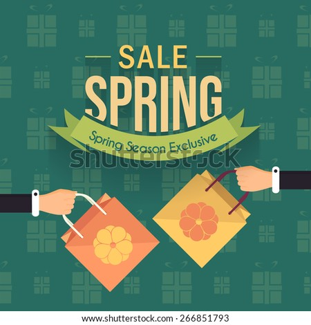 Spring Season Sale Flat Background and Web Banner Vector Illustration - stock vector