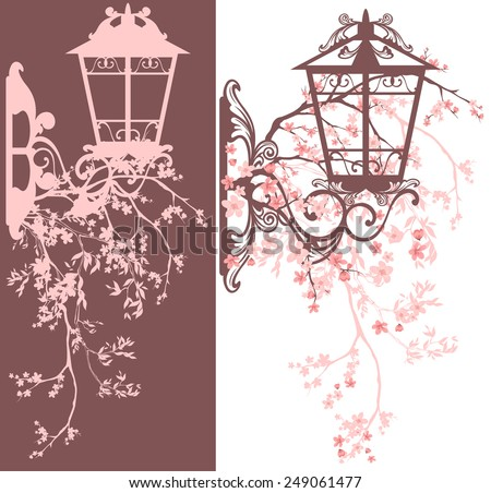 spring season street light decor - wall lamp among blooming tree branches vector design - stock vector