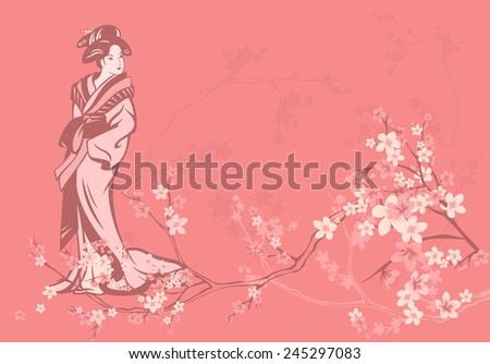 spring season vector background with beautiful Japanese geisha and sakura flowers - stock vector