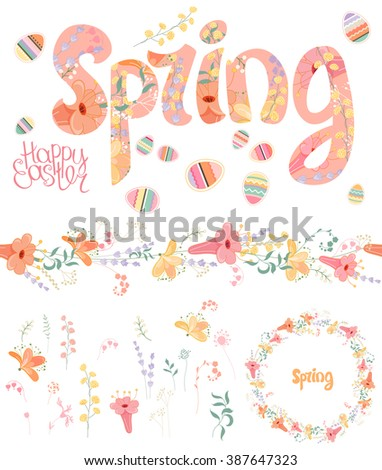 Spring set. Phrase made of flowers, isolated floral objects, text happy easter, painted eggs, round frame, seamless pattern brush. Objects for your design, festive greeting cards,  , posters. - stock vector