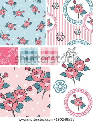 Spring Shabby Chic Rose Vector Patterns and Icons. Use as fills for digital paper or fabric. Great for scrap booking or art and craft projects. - stock vector