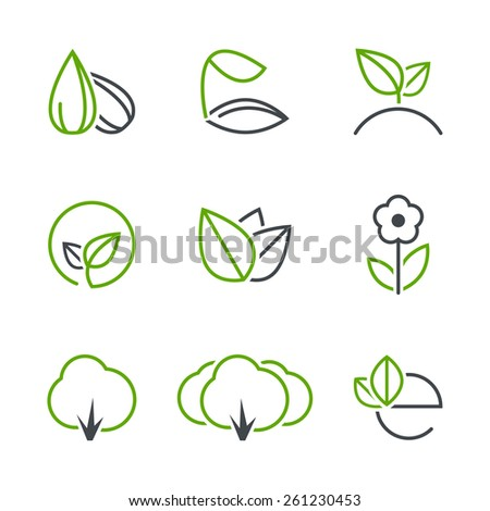 Spring simple vector icon set - seed, sprout, plant, leaf, flower, tree, forest, ecology  - stock vector