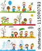 Spring, summer, autumn and winter - happy kids - stock vector