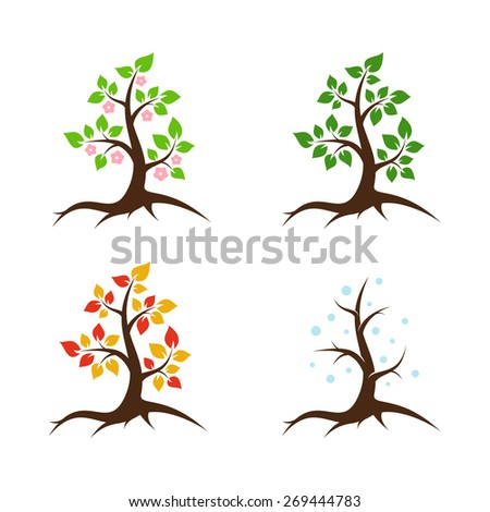 Spring, summer, autumn and winter tree - vector illustration - stock vector