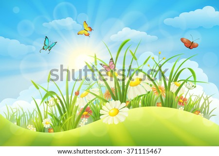 Spring summer meadow background with grass, flowers, sun and butterflies - stock vector