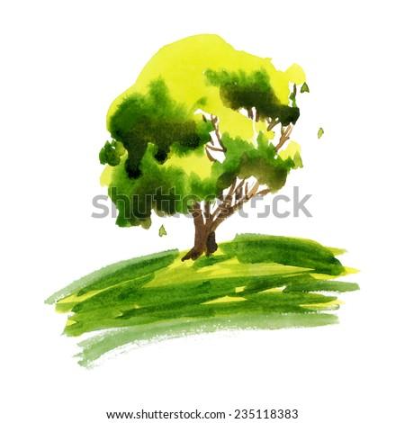 spring summer positive light green tree on grass  - stock vector