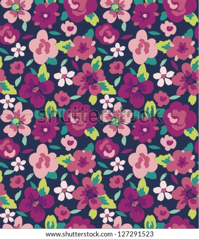 spring summer tiny bloom flower seamless pattern background - stock vector