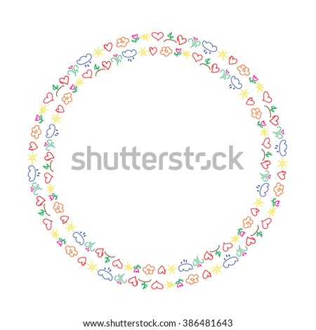 Spring theme double circles frame with hand-drawn childish pictures - stock vector