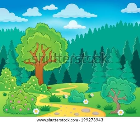 Spring theme landscape 9 - eps10 vector illustration. - stock vector