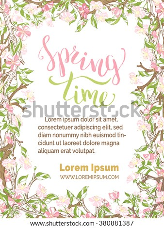 Spring time background. Pink flowers on branches on white background. Vector card vertical template. You can place your text in the center. - stock vector