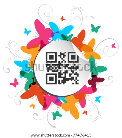 Spring time concept background with qr code label. Vector file available. - stock vector