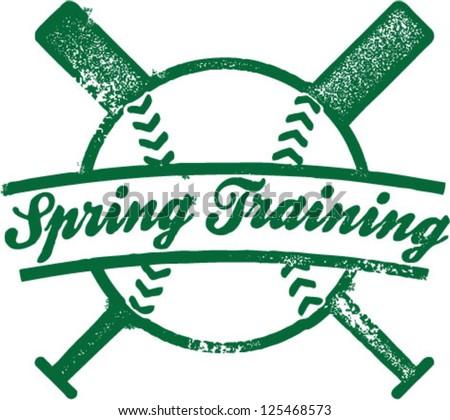 Spring Training Baseball Stamp - stock vector