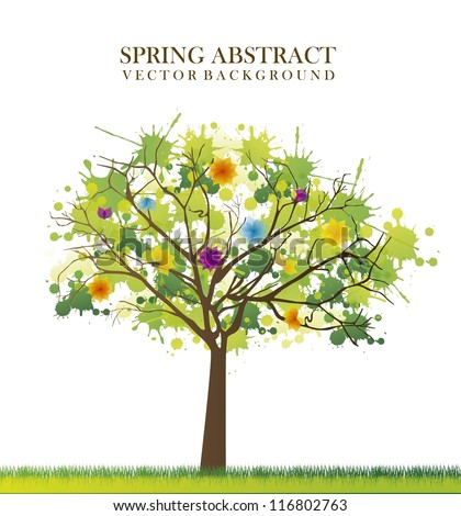 spring tree abstract over white background. vector illustration - stock vector