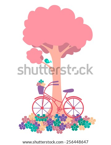 Spring. Tree with flowers and bicycles. Vector illustration - stock vector