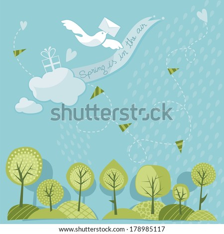 Spring trees and sky with messenger dove - stock vector